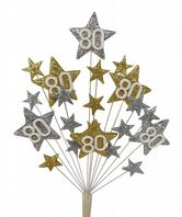 Star age 80th birthday cake topper decoration in silver and gold - free postage